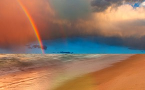 Picture sea, the sky, rainbow, surf