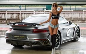 Picture machine, auto, girl, pose, sneakers, figure, glasses, shorts, topic, knee, Maria Grishina, Oleg Klimin, Porsche …