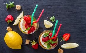 Picture berries, lemon, strawberry, glasses, lemonade