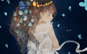 Picture butterfly, girl, forget-me-nots