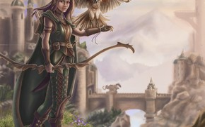 Picture girl, bird, fantasy