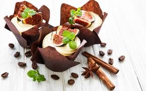 Picture cinnamon, cream, cupcakes, figs, Olena Rudo
