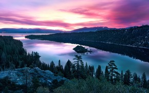 Picture the sky, clouds, sunset, CA, river, sky, sunset, water, park, tree, State Park emerald Bay
