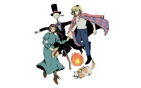 Picture girl, fire, dog, anime, art, guy, Sophie, characters, Scarecrow, Howl's moving castle, Howl's Moving Castle, …
