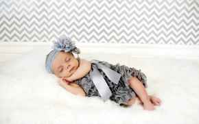 Picture sleep, dress, sleeping, girl, fur, bow