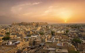 Picture sunset, the city, India, panorama, India, Jaisalmer