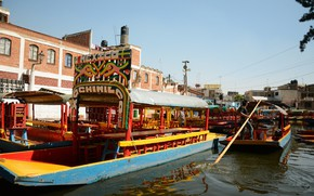 Picture the city, boats, Mexico, channel, Mexico city, Of xochimilko