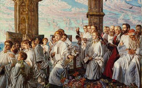 Picture William Holman Hunt, 1888-93, The welcoming ceremony of the month of may, in Magdalen Coll