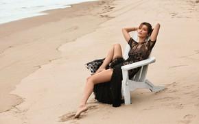 Picture sand, beach, pose, model, Bella Hadid
