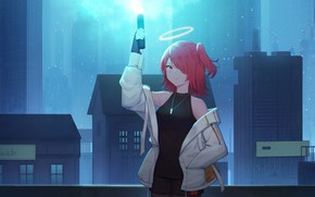 Picture girl, the city, halo