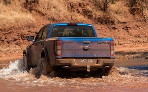 Picture blue, Ford, rear view, Raptor, pickup, pond, 2018, Ranger