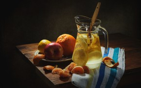 Picture light, the dark background, table, lemon, apples, glass, orange, food, towel, plate, spoon, dishes, fabric, …