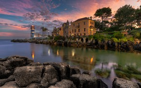 Picture sea, the sky, clouds, trees, sunset, lights, stones, palm trees, shore, lighthouse, home, the evening, …