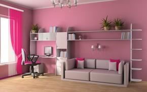 Wallpaper design, furniture, interior, children's room