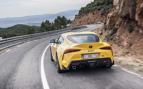 Picture road, yellow, coupe, turn, back, Toyota, Supra, the fifth generation, mk5, double, 2020, GR Above, …