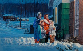Picture American painter, American artist, Carols, Carolers on front steps of suburban house, Gordon Johnson, Gaouche …