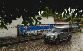 Picture grey, wall, street, Mercedes-Benz, SUV, 4x4, G-Class, 2017, G 500, V8