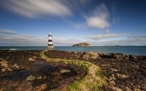 Picture sea, the sky, clouds, coast, lighthouse