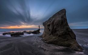 Picture rocks, coast, people, horizon