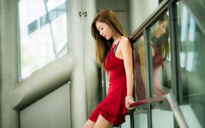 Picture girl, red, dress, brown hair, Asian, cutie