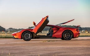 Picture sunset, Ford, the evening, supercar, Ford GT, side view, 2017, H063, Beryllium Orange