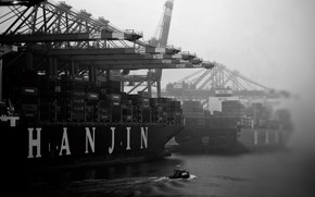 Picture Fog, Port, Boat, The ship, A container ship, Cranes, Black - and-white., Zaton, Hanjin, Cargo …
