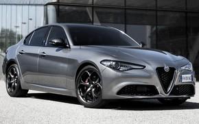 Picture sand, car, machine, style, Alfa Romeo, grey, sedan, drives, front, side, grey, Alfa Romeo Giulia …
