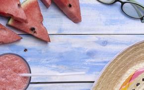 Picture hat, Watermelon, glasses