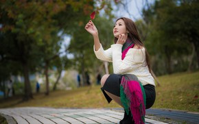 Picture autumn, girl, Park, sweetheart, track, Asian, leaf, bokeh, graceful