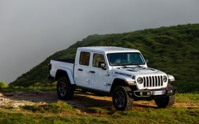 Picture white, vegetation, slope, SUV, pickup, Gladiator, 4x4, cloudy, Jeep, Rubicon, 2019