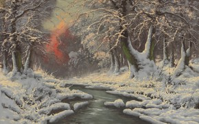 Picture Winter forest, Laszlo Neogrady, Hungarian painter, Laszlo Nogradi, Hungarian painter, Winter Forest