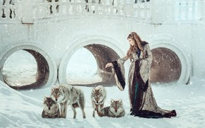 Picture winter, look, girl, snow, bridge, pose, tale, pack, the snow, wolves, image, brown hair, arch, …