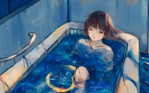 Picture water, girl, bath, starry sky, Crescent