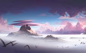 Picture The sky, Clouds, Mountains, Rocks, Birds, Landscape, Illustration, Concept Art, Environments, ALPHA beta test, Lorenzo …