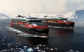 Wallpaper Winter, The ocean, Sea, Liner, Ice, The ship, Technique, Arctic, Rendering, Passenger ship, Ship, Vessel, ...