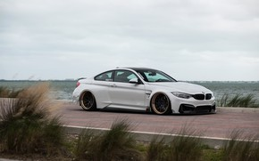 Picture Grass, Vorsteiner, Coupe, Bmw, White, Tuning, Road, Sea, Vehicle, GTRS4