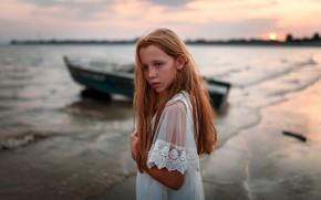Picture boat, girl, freckles, Juliana Naidenova
