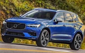Picture road, car, machine, blue, lights, Volvo, side, blue, wheel, crossover, R-Design, XC60, Volvo XC60, Volvo …