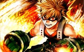Picture anime, Fire, art, hero, guy, Boku no Hero Academy, My hero Academy, Bakuga Katsuki