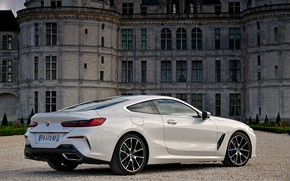 Picture white, coupe, BMW, 2018, 8-Series, Eight, G15, 840d xDrive M Sport, on the background of …