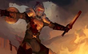 Picture armor, helmet, shield, knight, Goblin Slayer