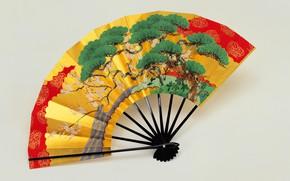 Picture Japan, Japan, light background, декоративно-прикладное искусство, paper fan, ручная роспись, складной веер, бумажный веер