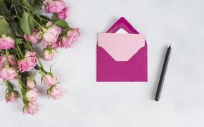 Picture letter, Love, roses, bouquet, the envelope