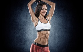 Picture girl, pose, background, makeup, figure, slim, brunette, hairstyle, gloves, sports, topic, is, fitness, press, smiling, …