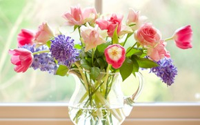 Picture roses, bouquet, tulips, pitcher, hyacinths