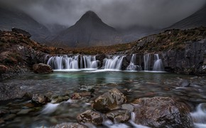 Picture mountains, river, stones, hills, waterfall, Scotland, cascade, Scotland, Isle of Skye, Isle Of Skye, Fairy …