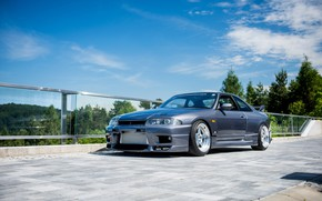 Picture Nissan, Sky, Blue, Skyline, R33