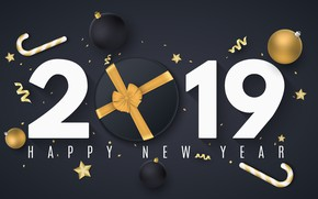 Picture background, holiday, black, figures, New year, decor, 2019