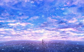 Picture the sky, girl, glade