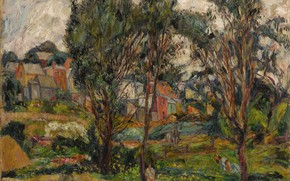 Picture trees, province, Abraham Manievich, TOWNSCAPE WITH TREES